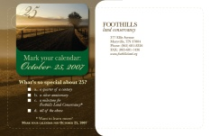 Mailing panel of direct mail print invitation. Foothills Land Conservancy. 2007.