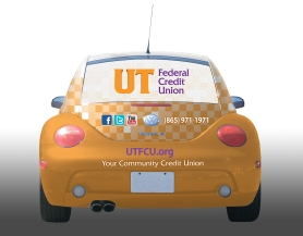 UTFCU VW Beetle wrap design, back of Bug.