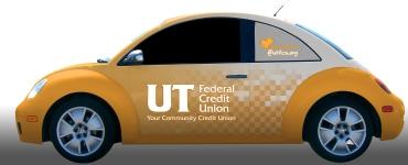 UTFCU VW Beetle wrap design, driver's side of Bug.