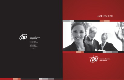 Marketing folder cover, front and back