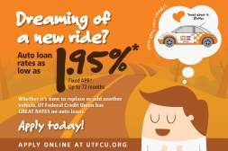 UTFCU Auto Loan Campaign direct mail front