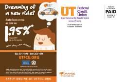 UTFCU Auto Loan Campaign direct mail back